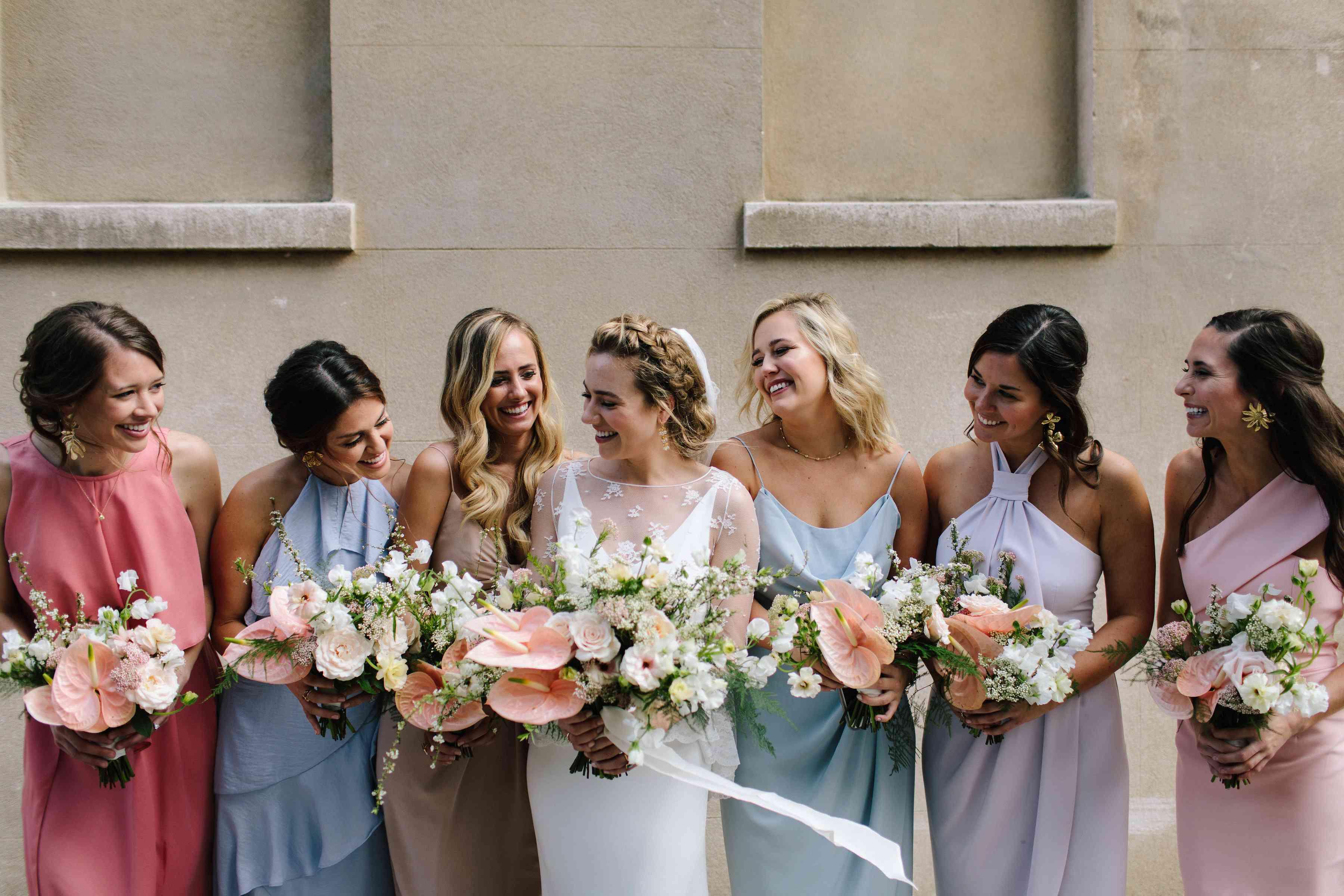 wedding party pastel dresses