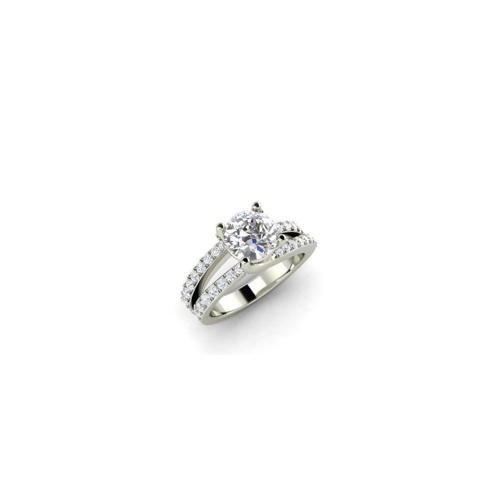 Diamondère Stephne Round SI Diamond Sidestone Engagement Ring in 14k White Gold
