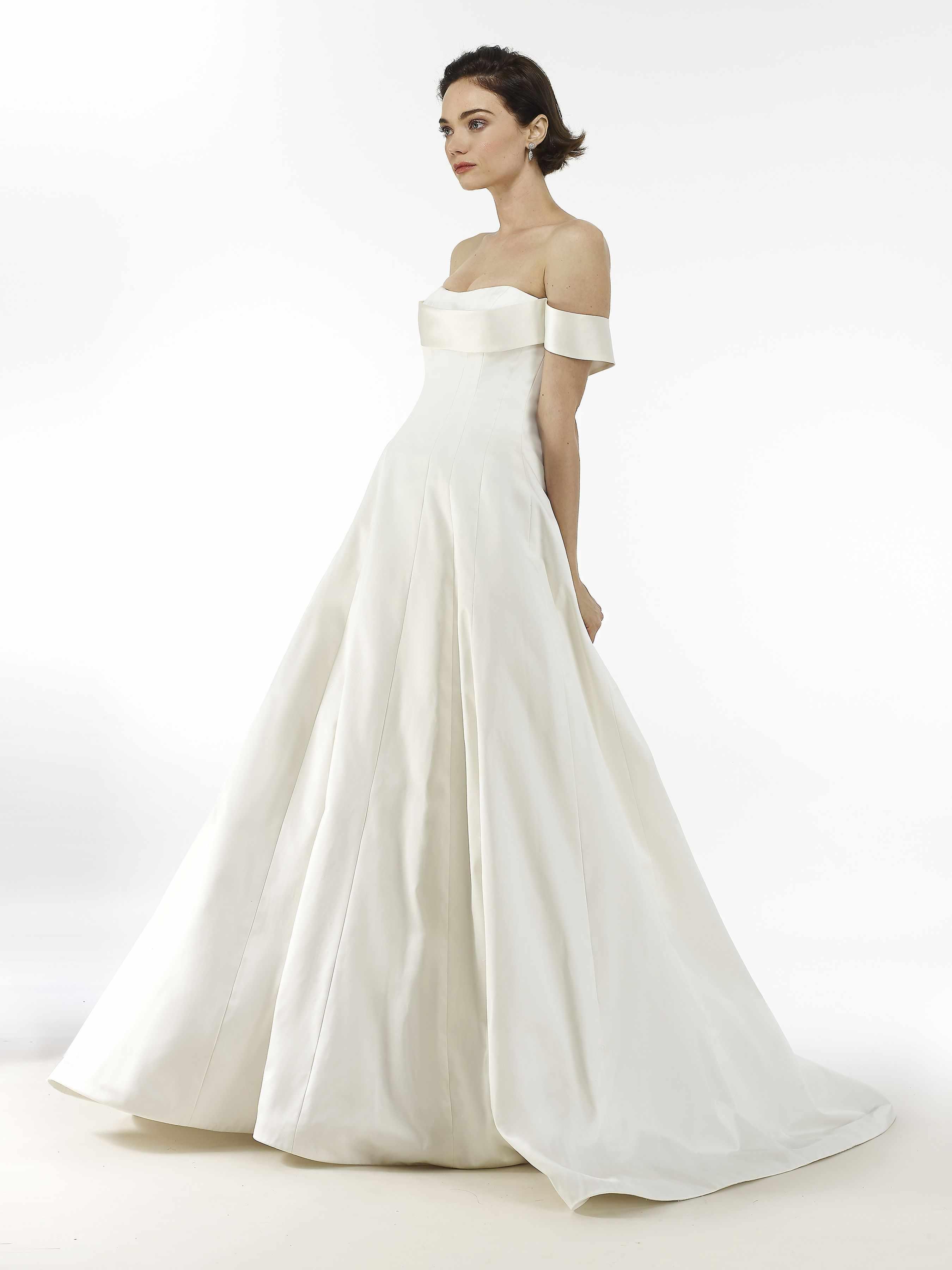 Model in off-the-shoulder ballgown