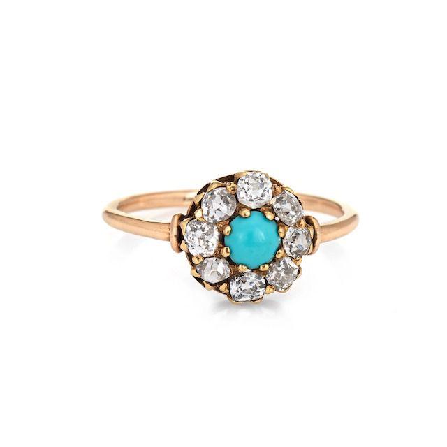 Sophie Jane Antique Edwardian Turquoise and Diamond Ring