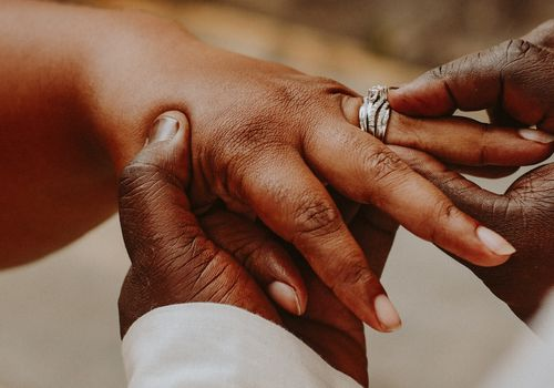 couple putting on wedding ring