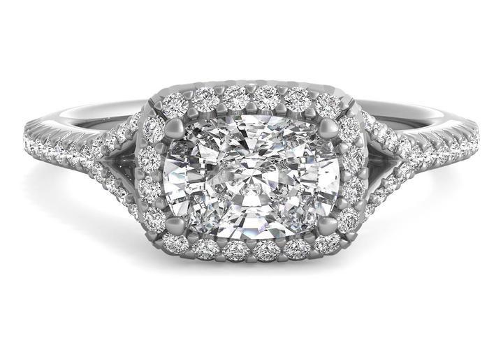 Ritani East To West Halo Diamond 'V Band' Engagement Ring