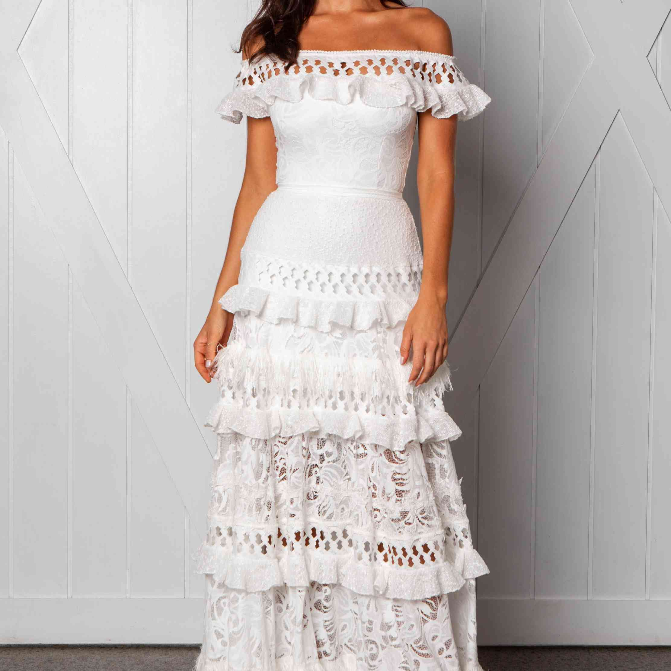 Coco tiered off-the-shoulder wedding dress