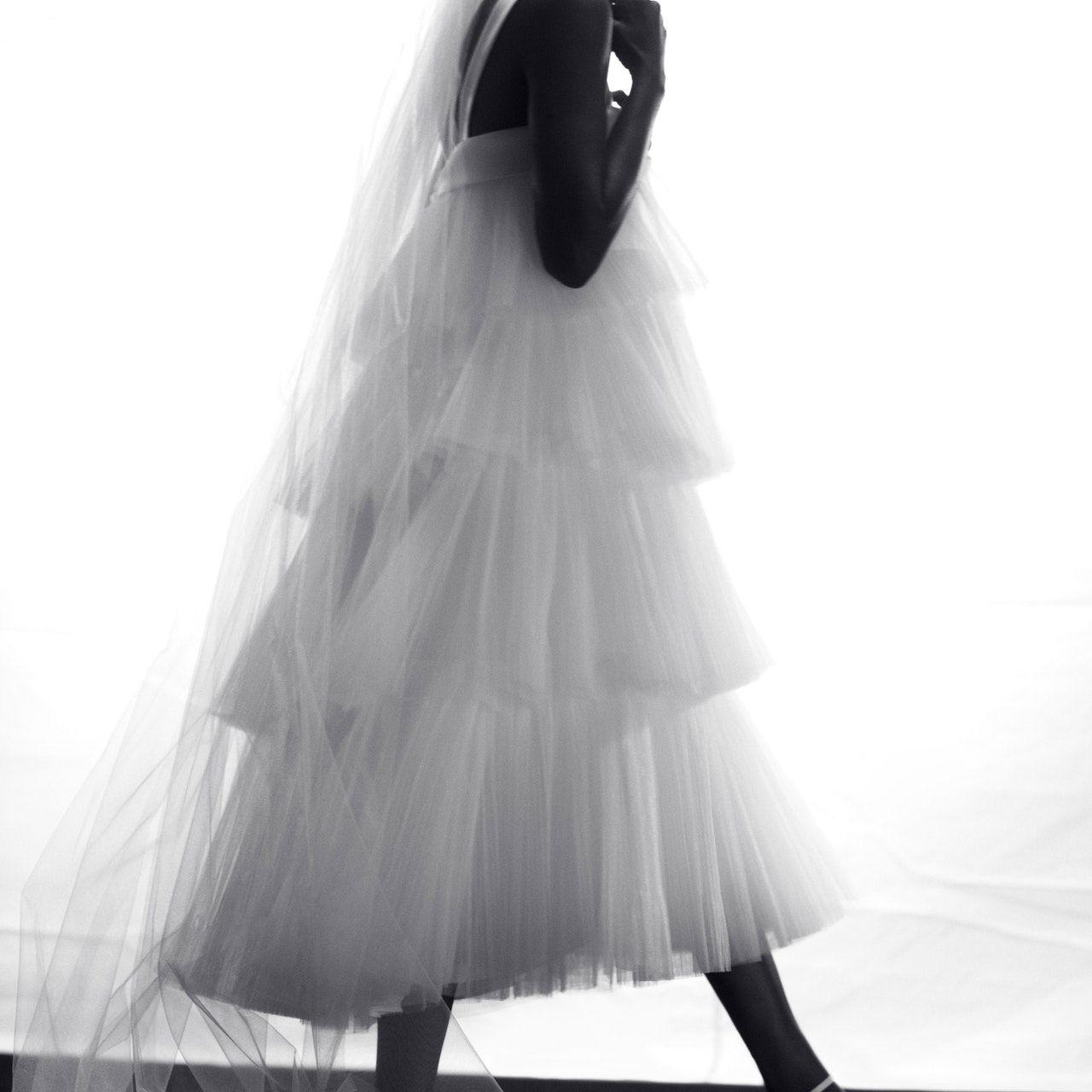 hair bow and wedding dress