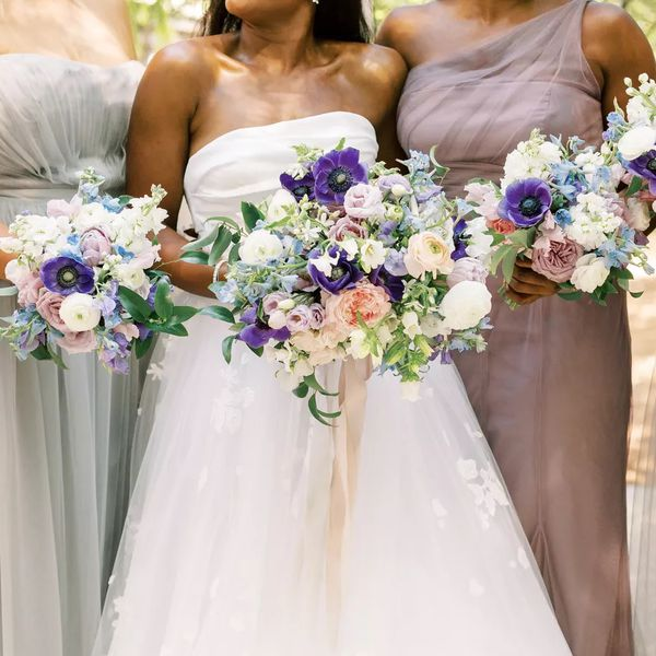 wedding bouquets with purple flowers