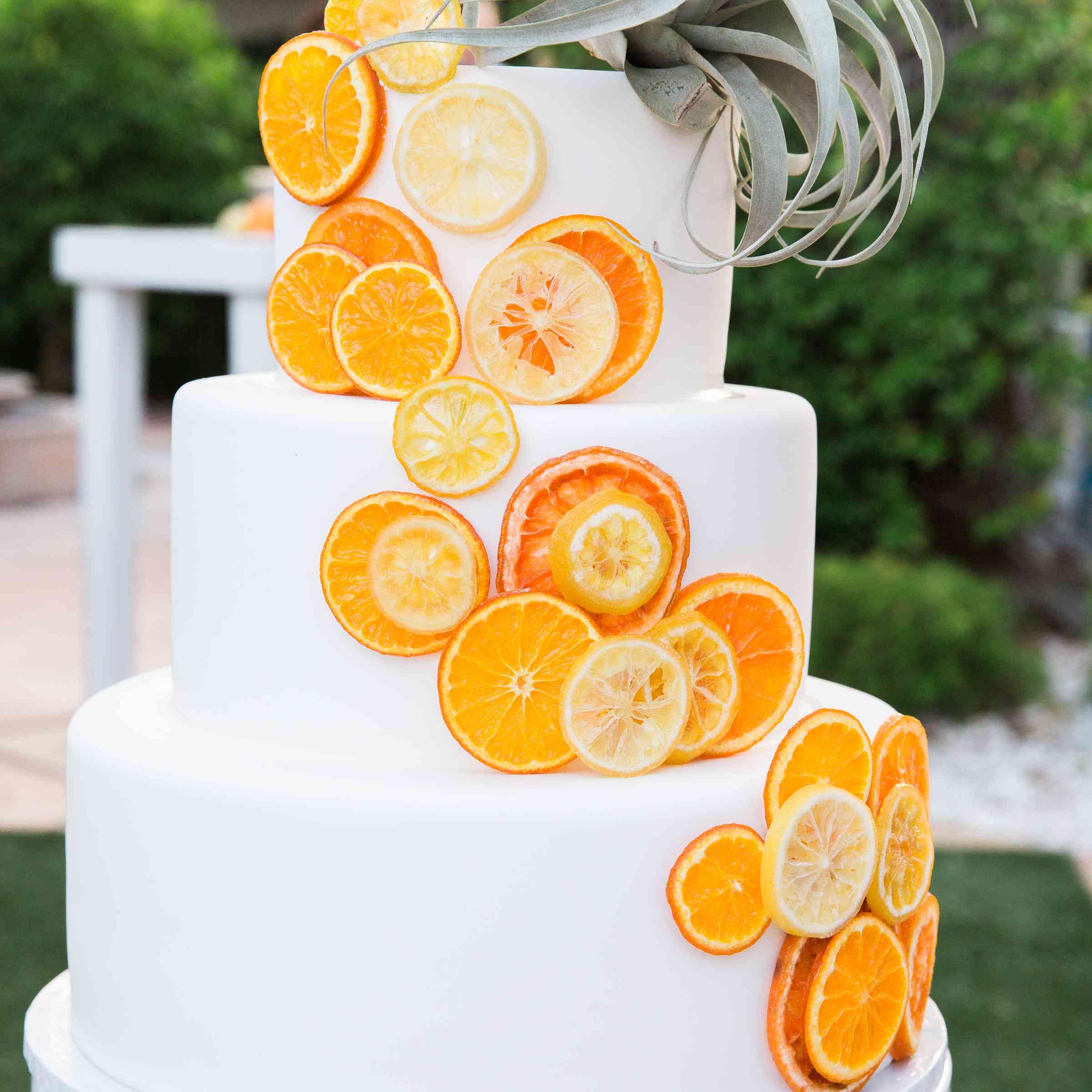 wedding cake with orange slices