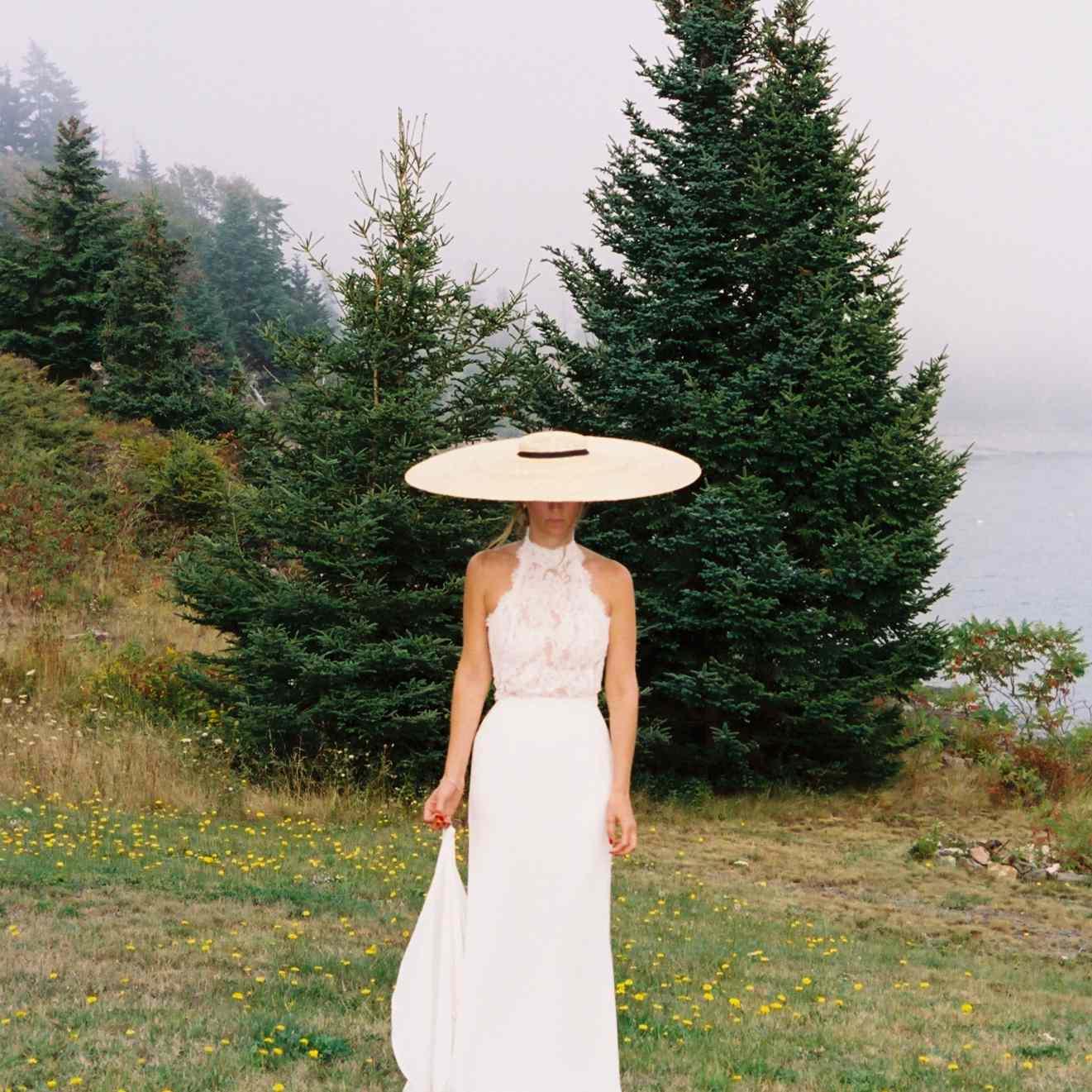 <p>bride in hat</p><br><br>