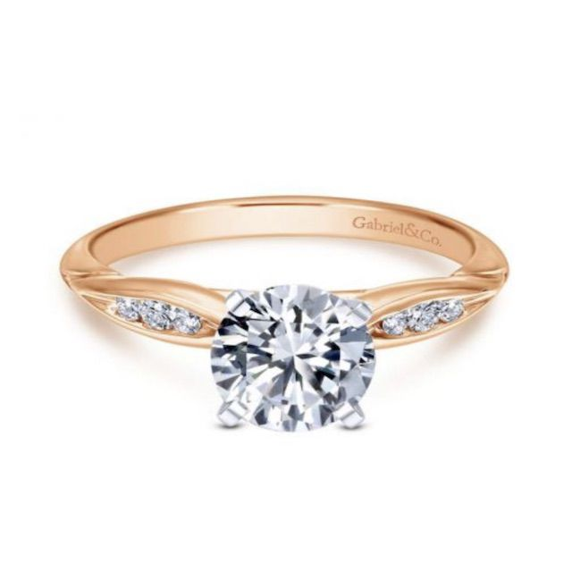 David Fairclough 14K Rose Gold Sculpted Channel Set Round Diamond Engagement Ring