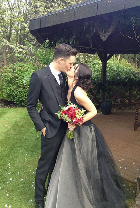 Shenae GrimesGrimes played a high school student on the reboot of 90210 , but the Vera Wang dress she wore to marry fiancé Josh Beech in May 2013 was anything but childlike. For their London wedding, Grimes walked down the aisle in a black gown with a tulle skirt and halter neckline paired with romantic-goth touches including a red rose bouquet and brooch-accented updo