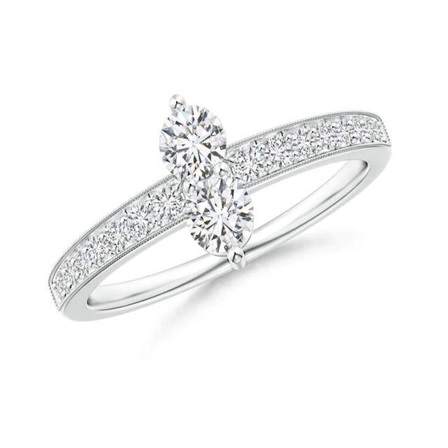 Angara Three Prong-Set Diamond Two Stone Ring with Milgrain Diamond Accents