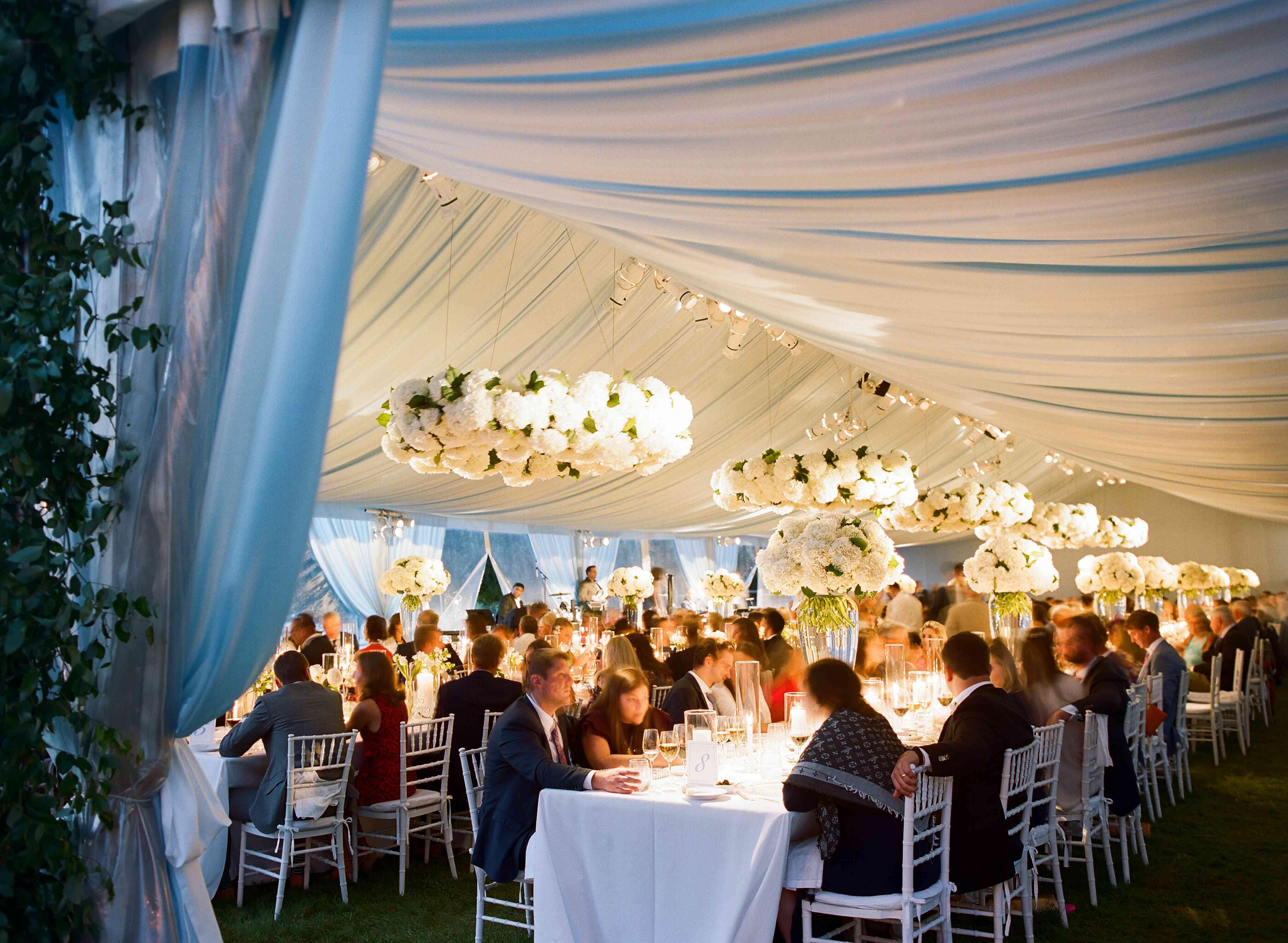 draped tent reception