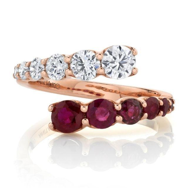 Anita Ko Diamond and Ruby Twist Ring