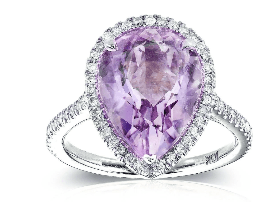 Pear Lavender Amethyst and Diamond Ring