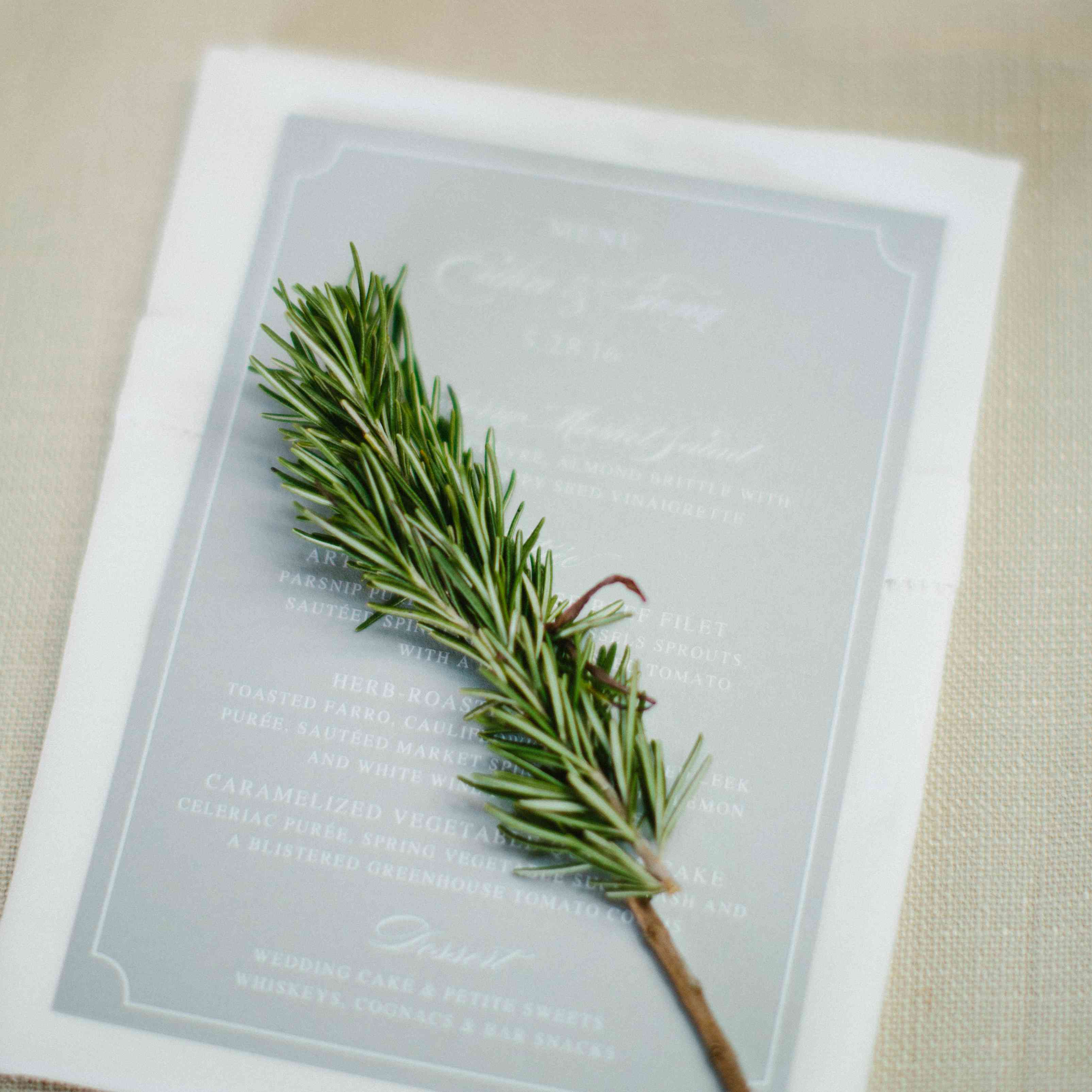 Reception Dinner Menu with Sprig of Greenery