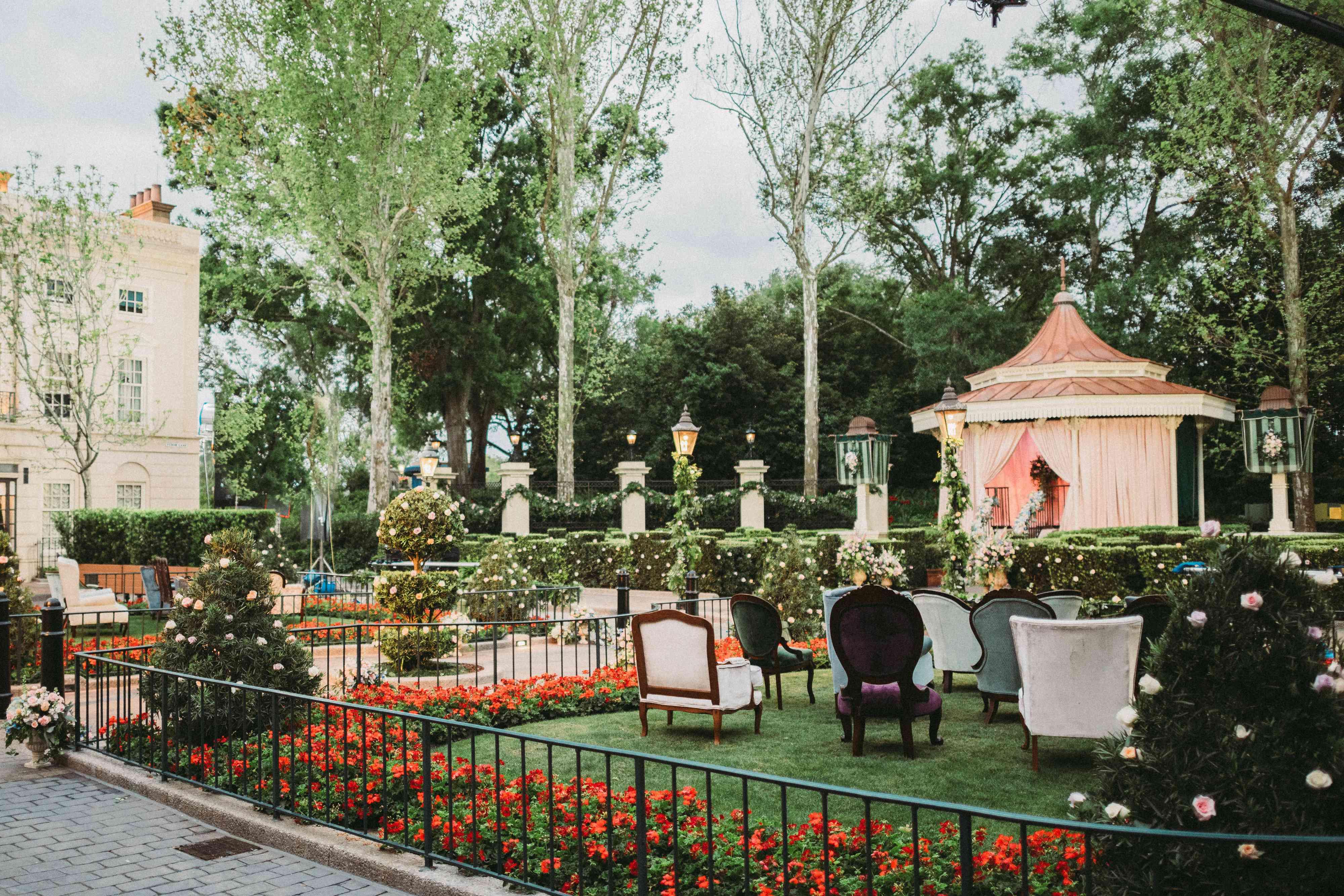 A garden set up for a wedding reception.