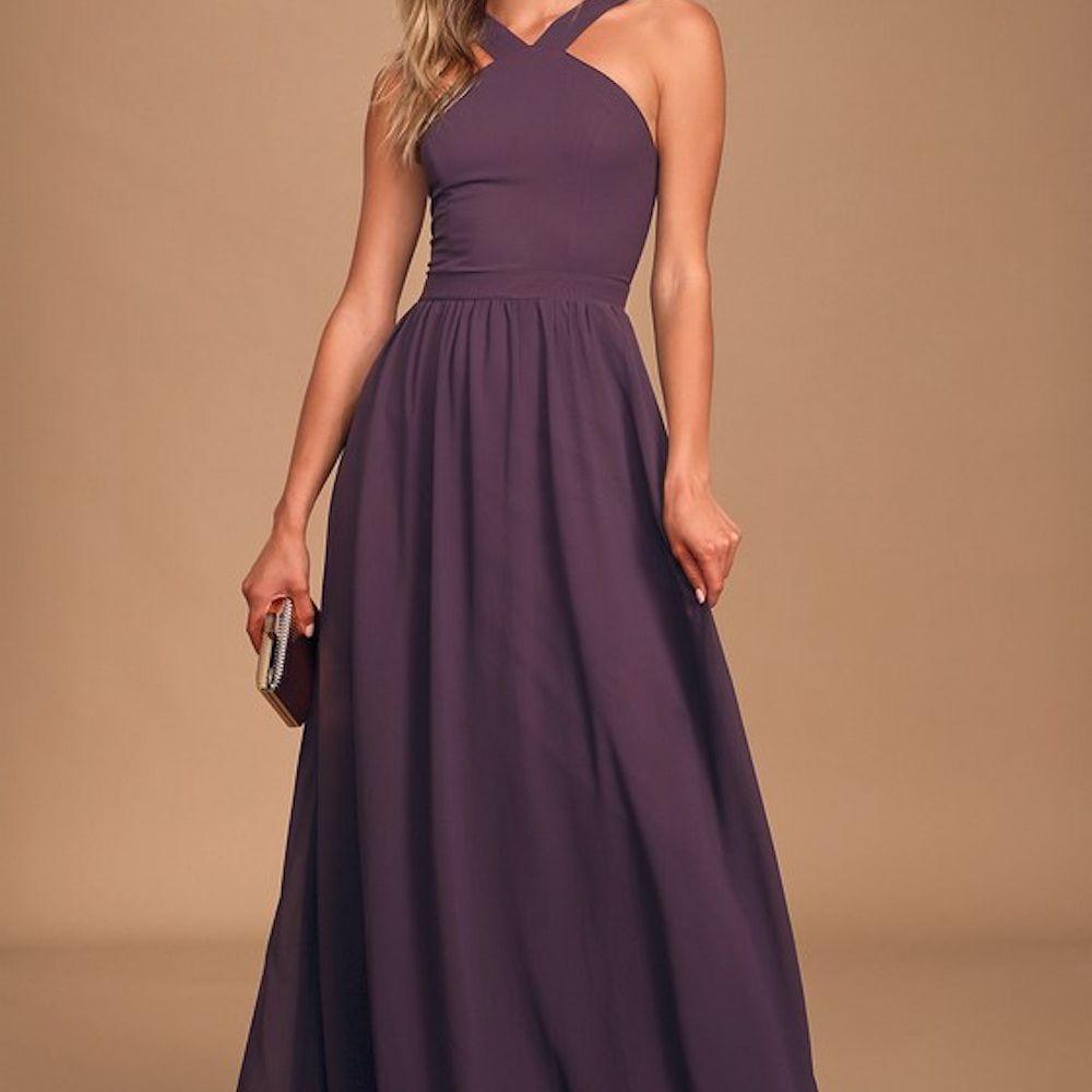 Lulus Moments of Bliss Purple Backless Mermaid Maxi Dress