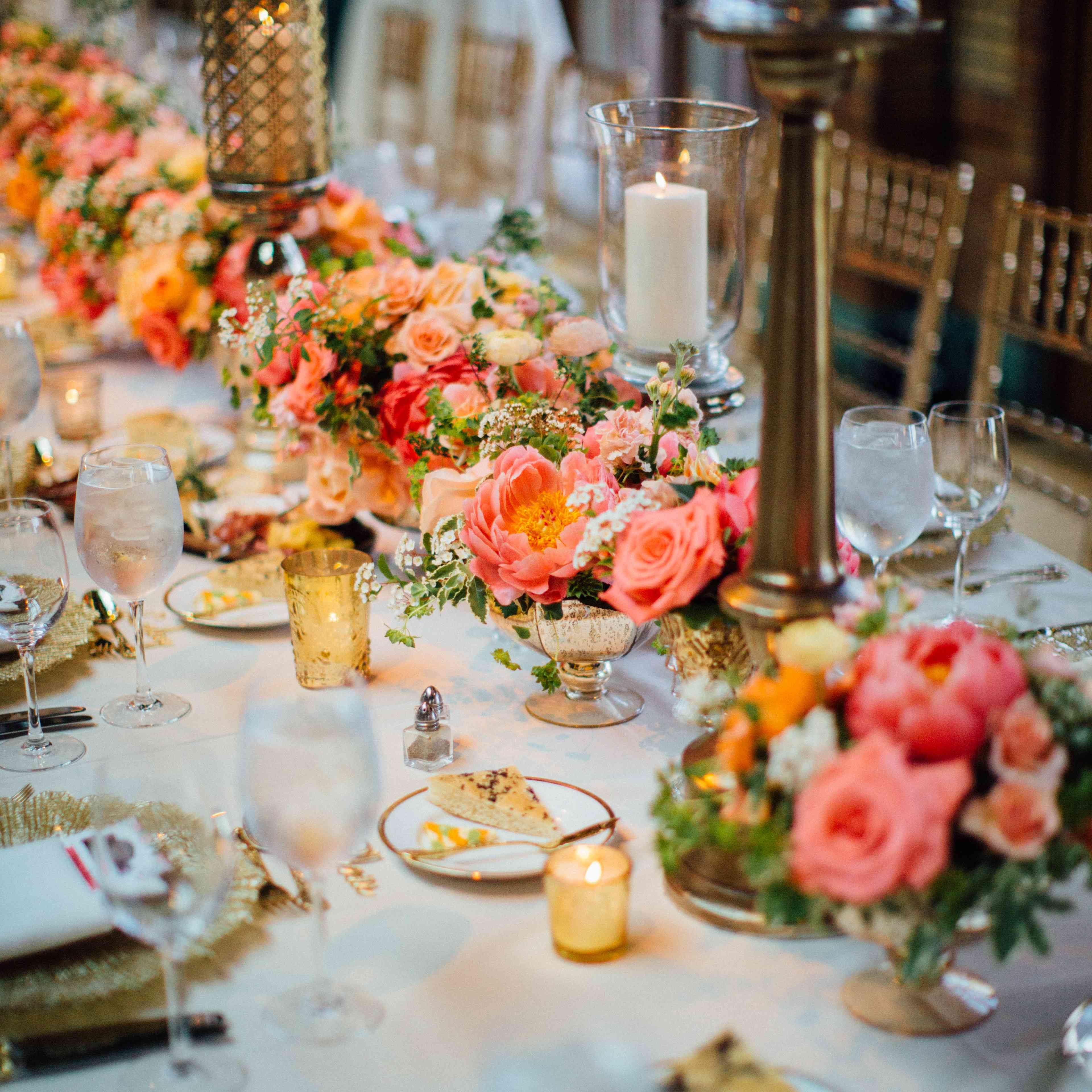 <p>Pink and Peach Centerpieces</p><br><br>
