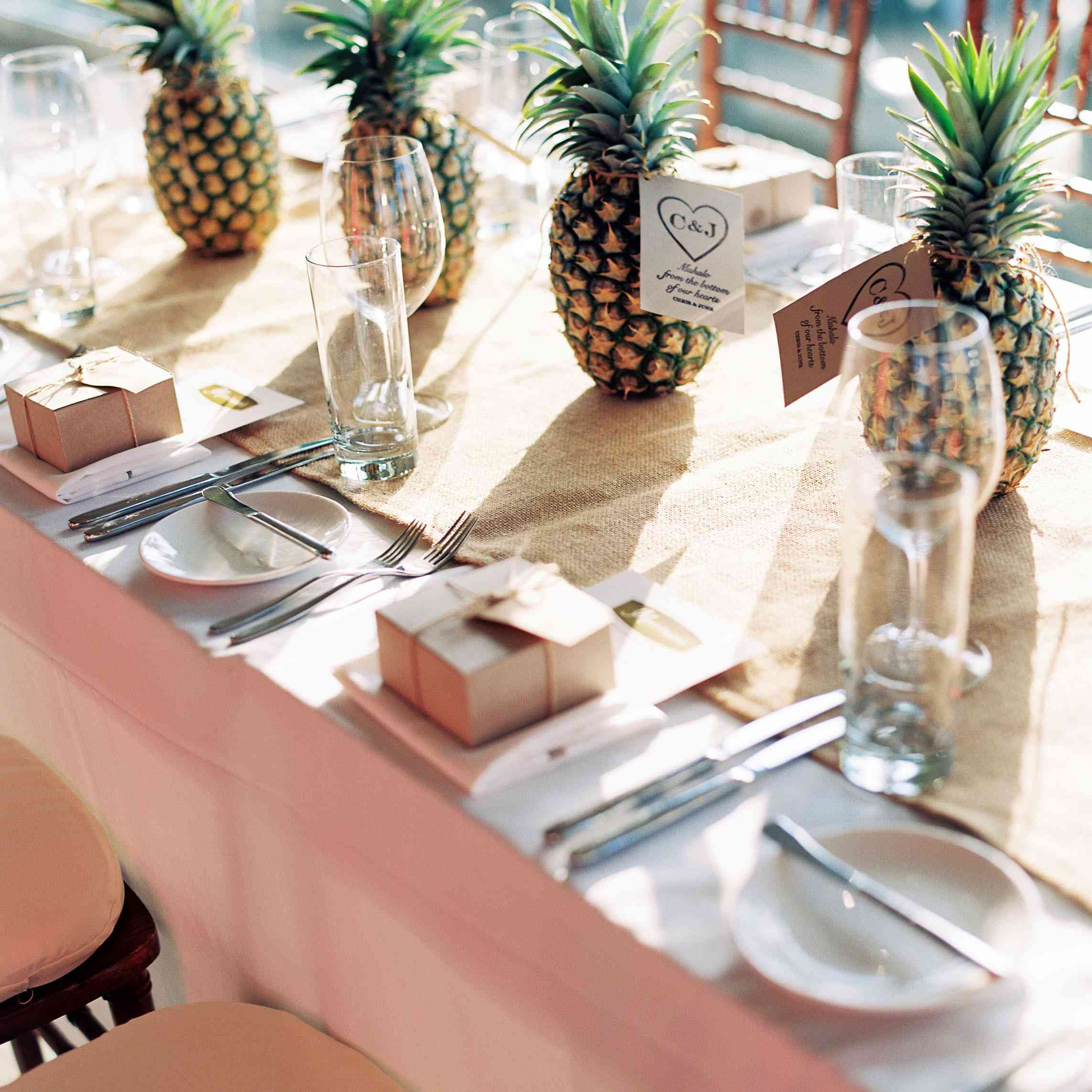 Pineapples used as centerpieces