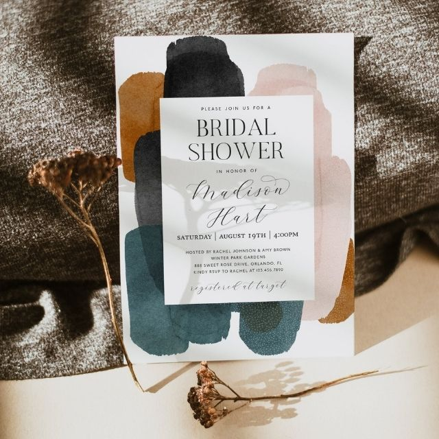 WishfulPaperie Modern Abstract Bridal Shower Invitation Template