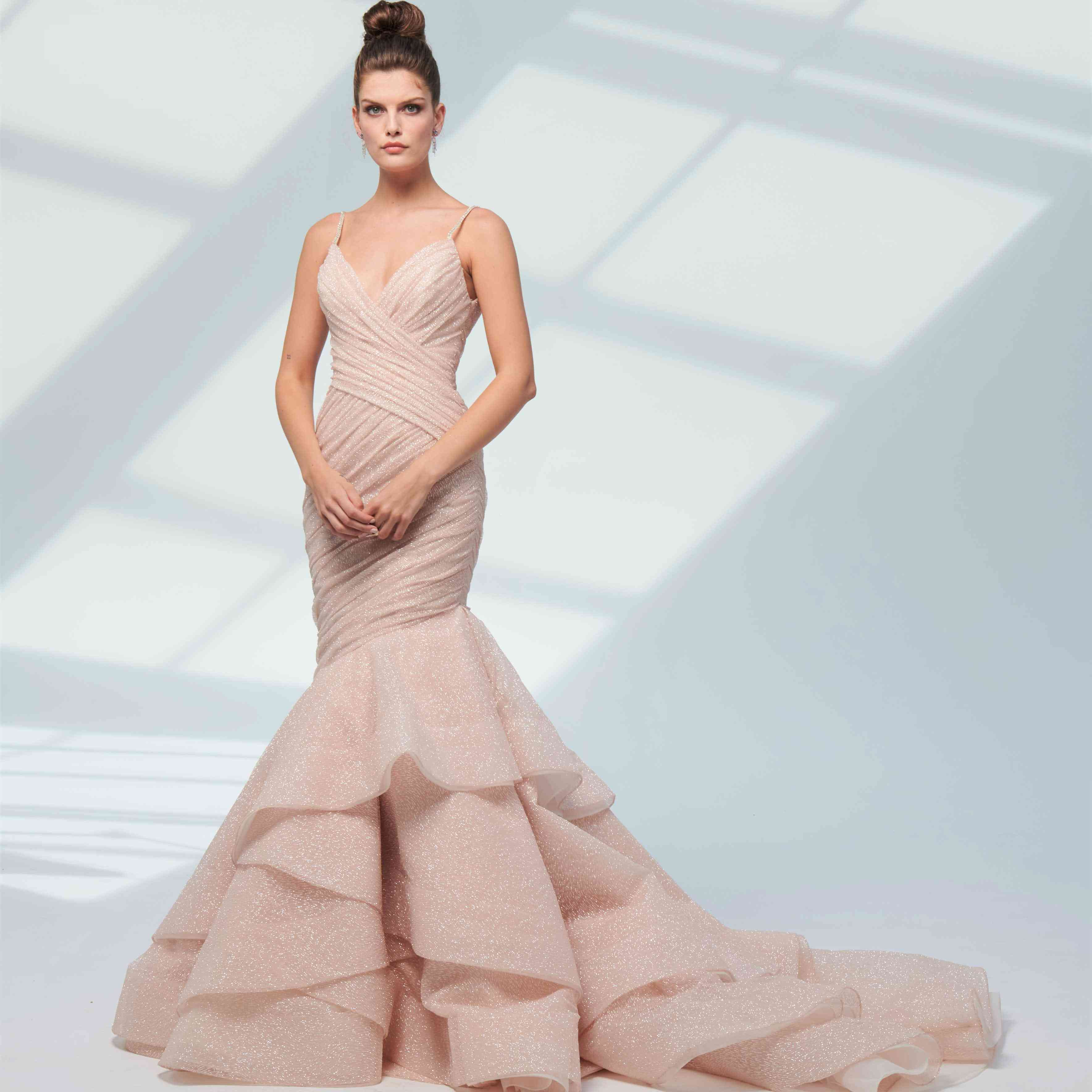 Catalina blush fit-and-flare wedding dress