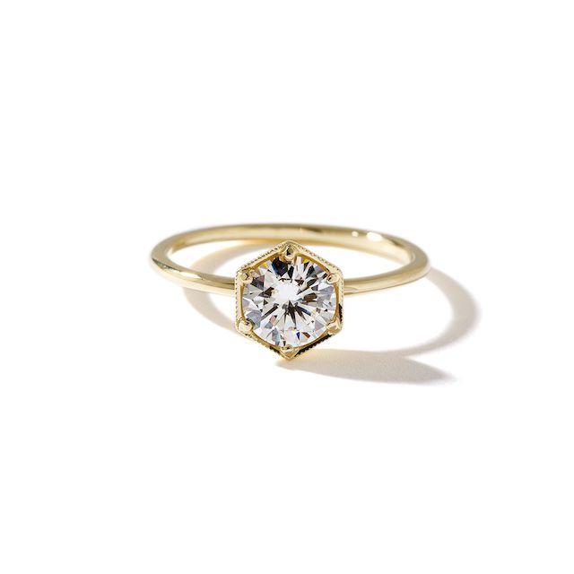 Lisa Robin The Genevieve Round Diamond Hexagon Ring