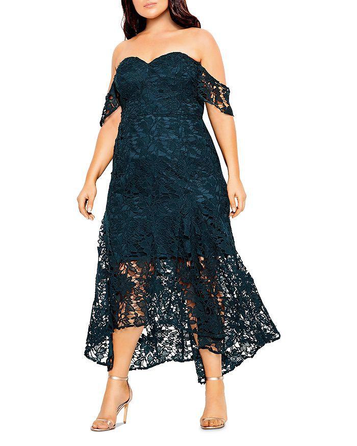 City Chic Plus Off-the-Shoulder Lace Dress, $179, on sale $125.30