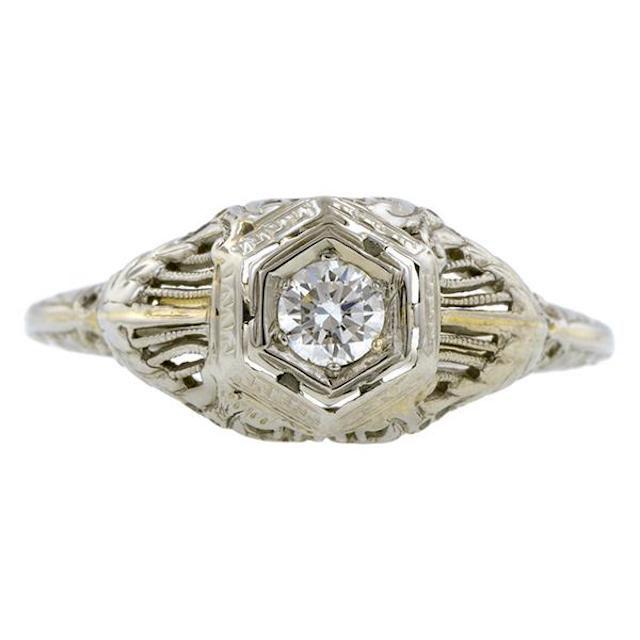 Doyle & Doyle Art Deco Diamond Engagement Ring