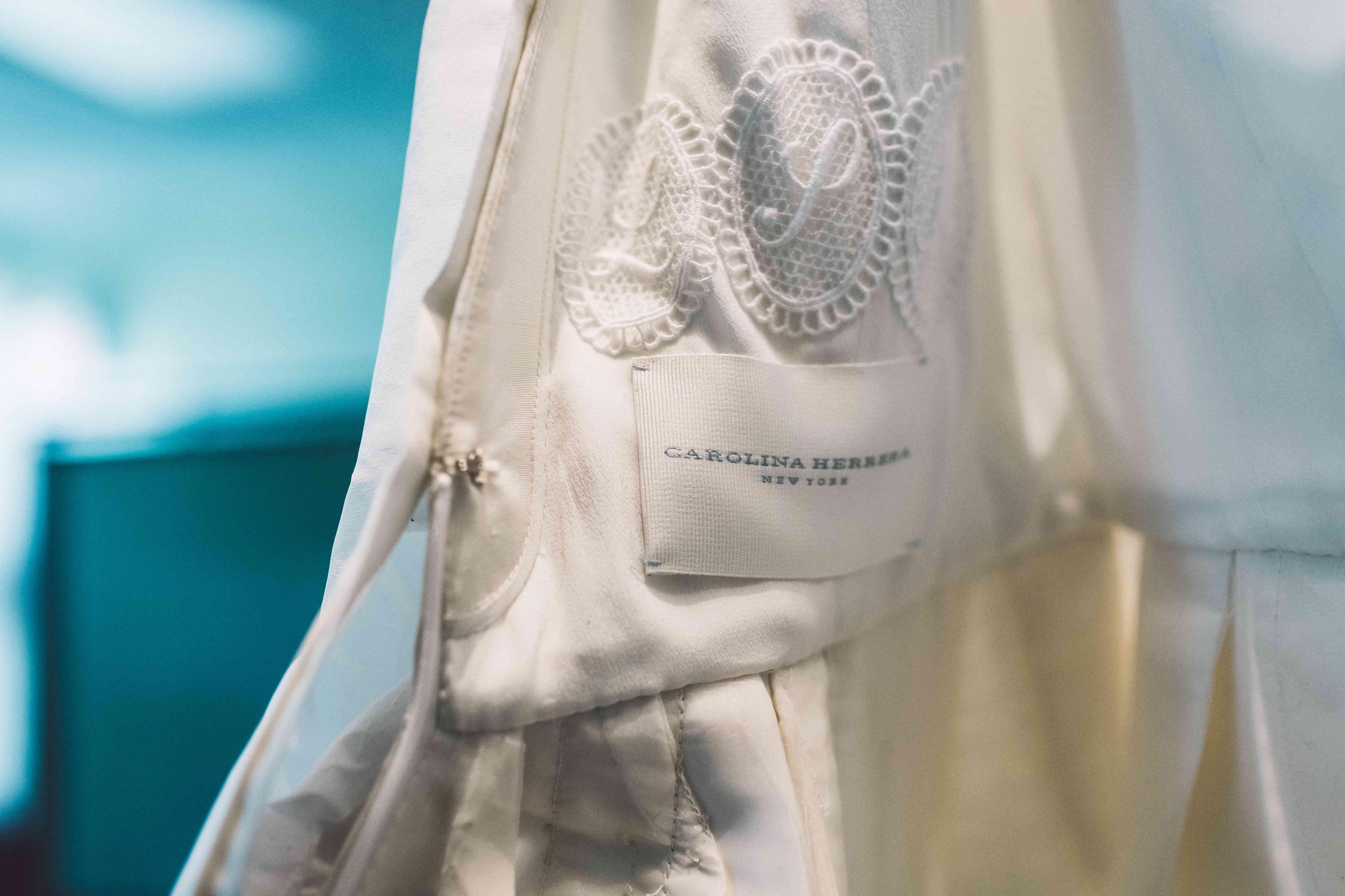Carolina Herrera Wedding Dress with Monogram