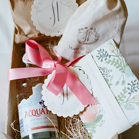 Wooden crate as wedding welcome bag