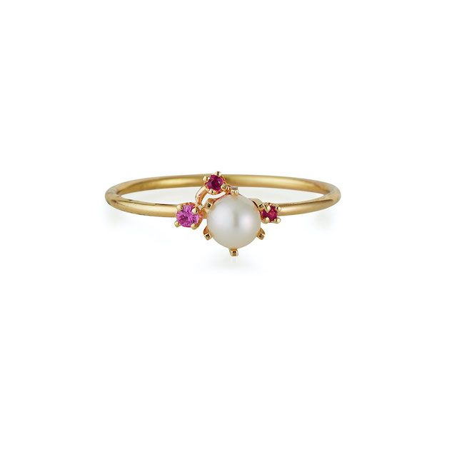 pearl ring with ruby detailing and gold band