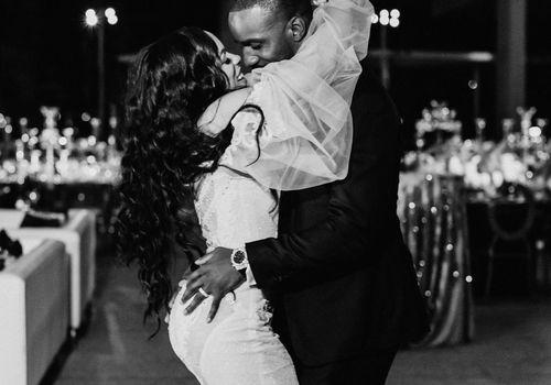 Newlyweds having their first dance