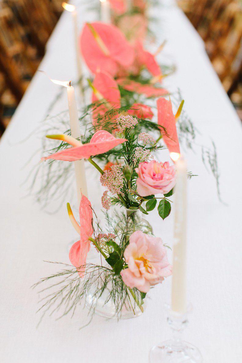 Pink flower centerpieces