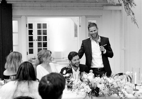 Best man delivering speech at wedding