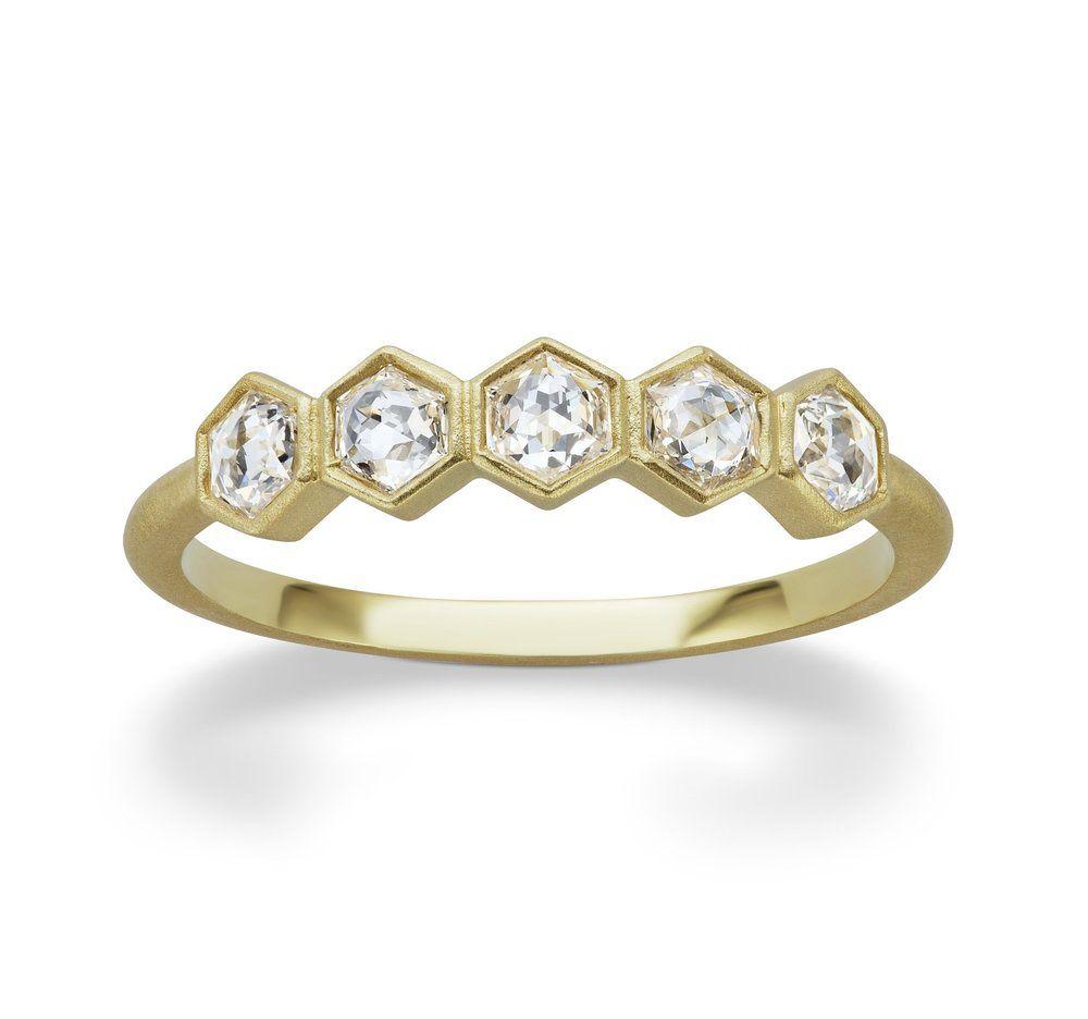 Michelle Fantaci Gold Hexagonal Band With Rose Cut Diamonds