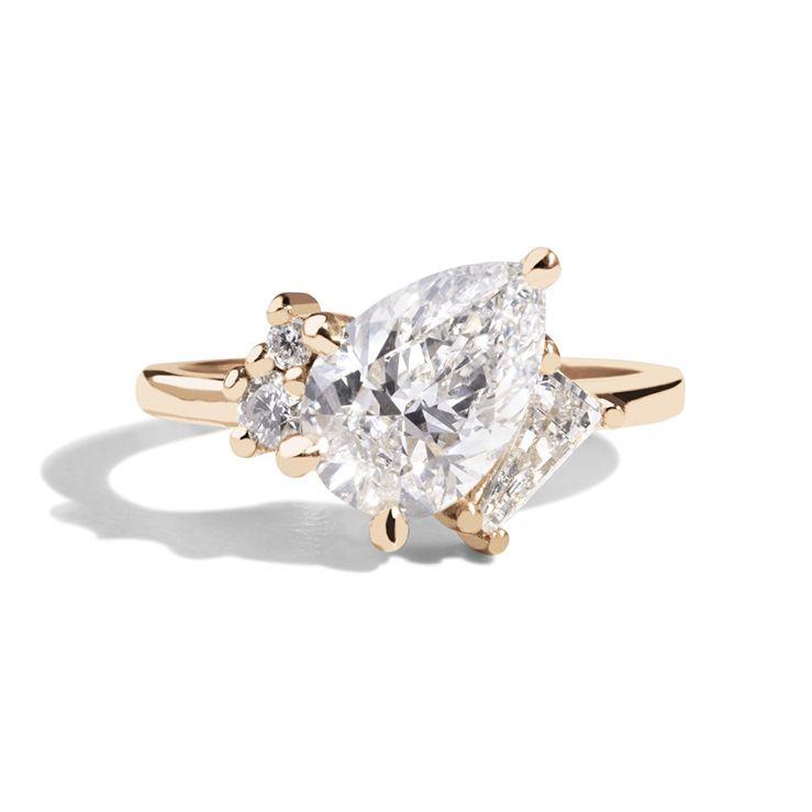 Custom Pear Cut Angled Diamond Ring