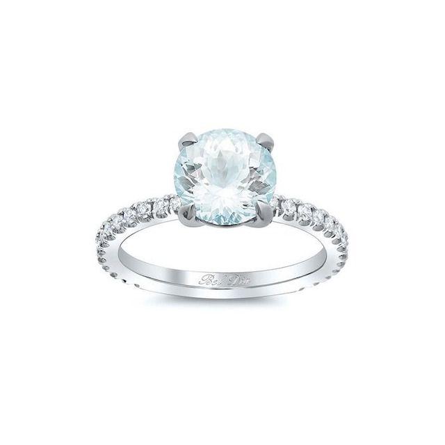 DeBebians Pavé Diamond Aquamarine Engagement Ring