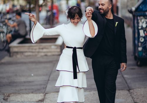 Newlyweds walking in Brooklyn