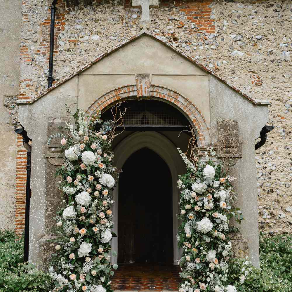 Church entrance with florals