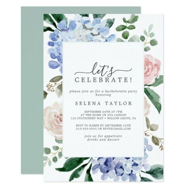 "Zazzle Elegant Blue Hydrangea ""Let's Celebrate"" Invitation"