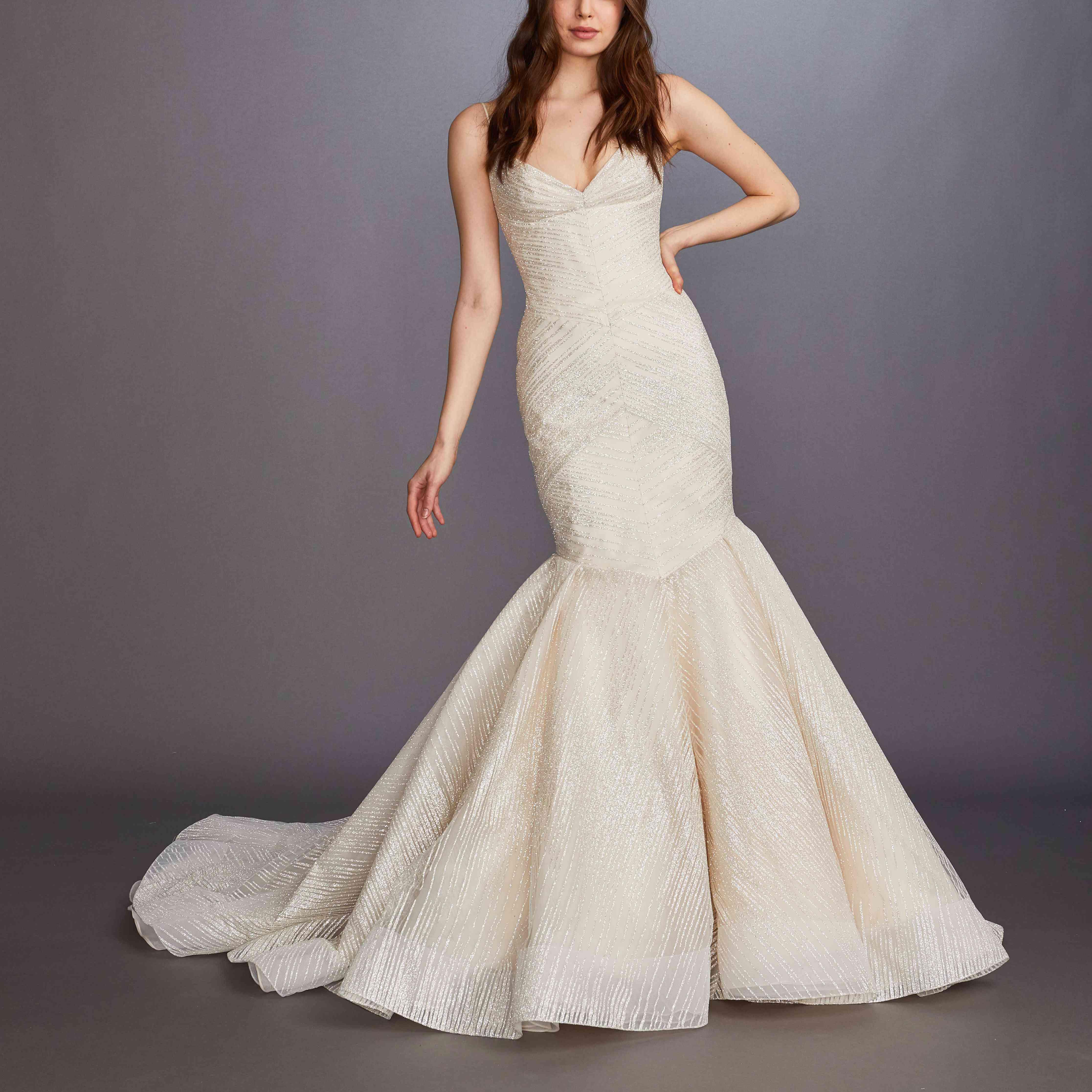 Marilla blush fit-and-flare wedding dress by Lazaro