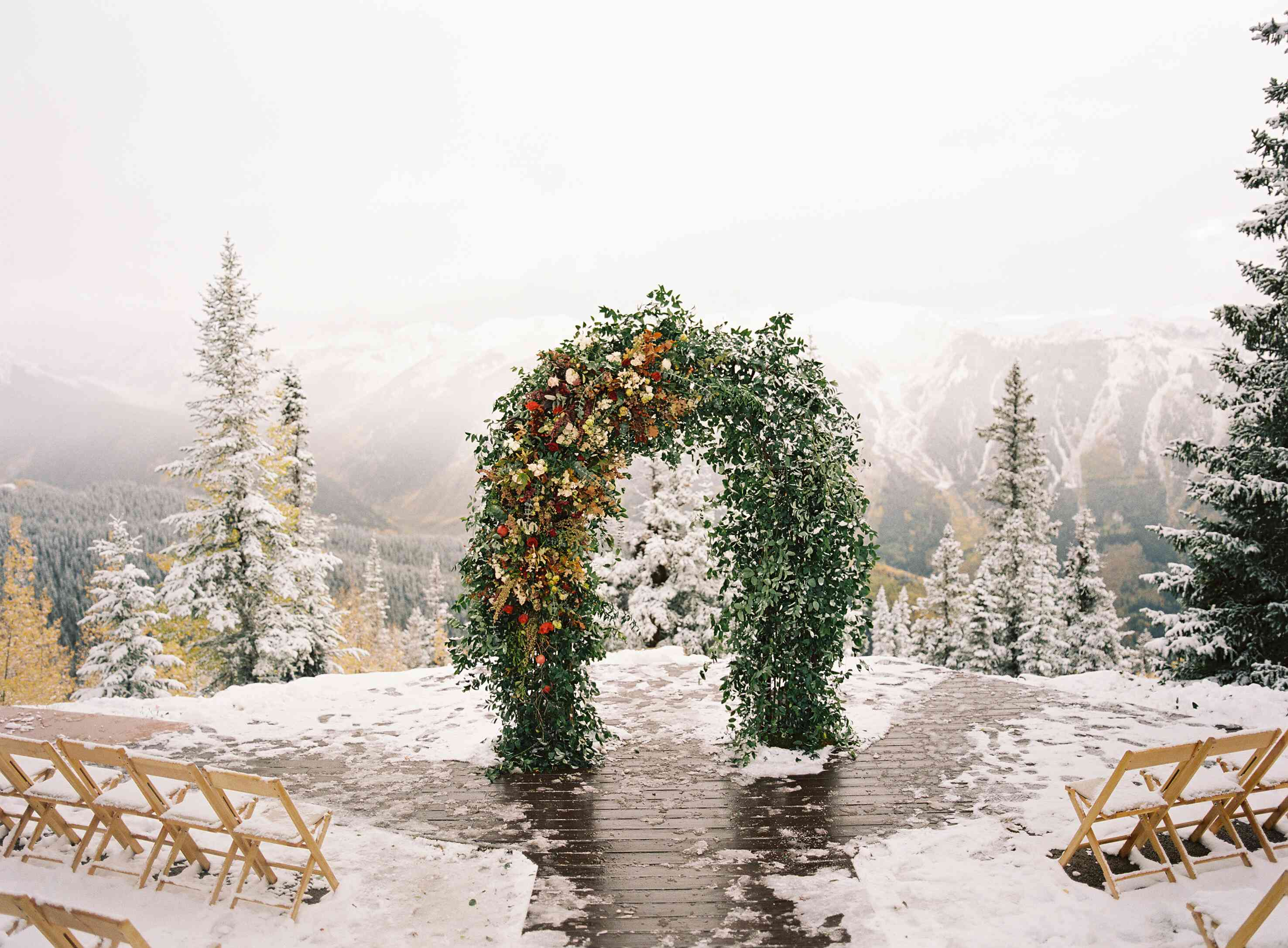 Floral backdrop for a winter wedding