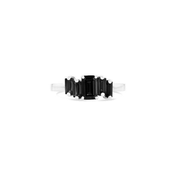 Suzanne Kalan Amalfi Black Night Quartz Stack Ring