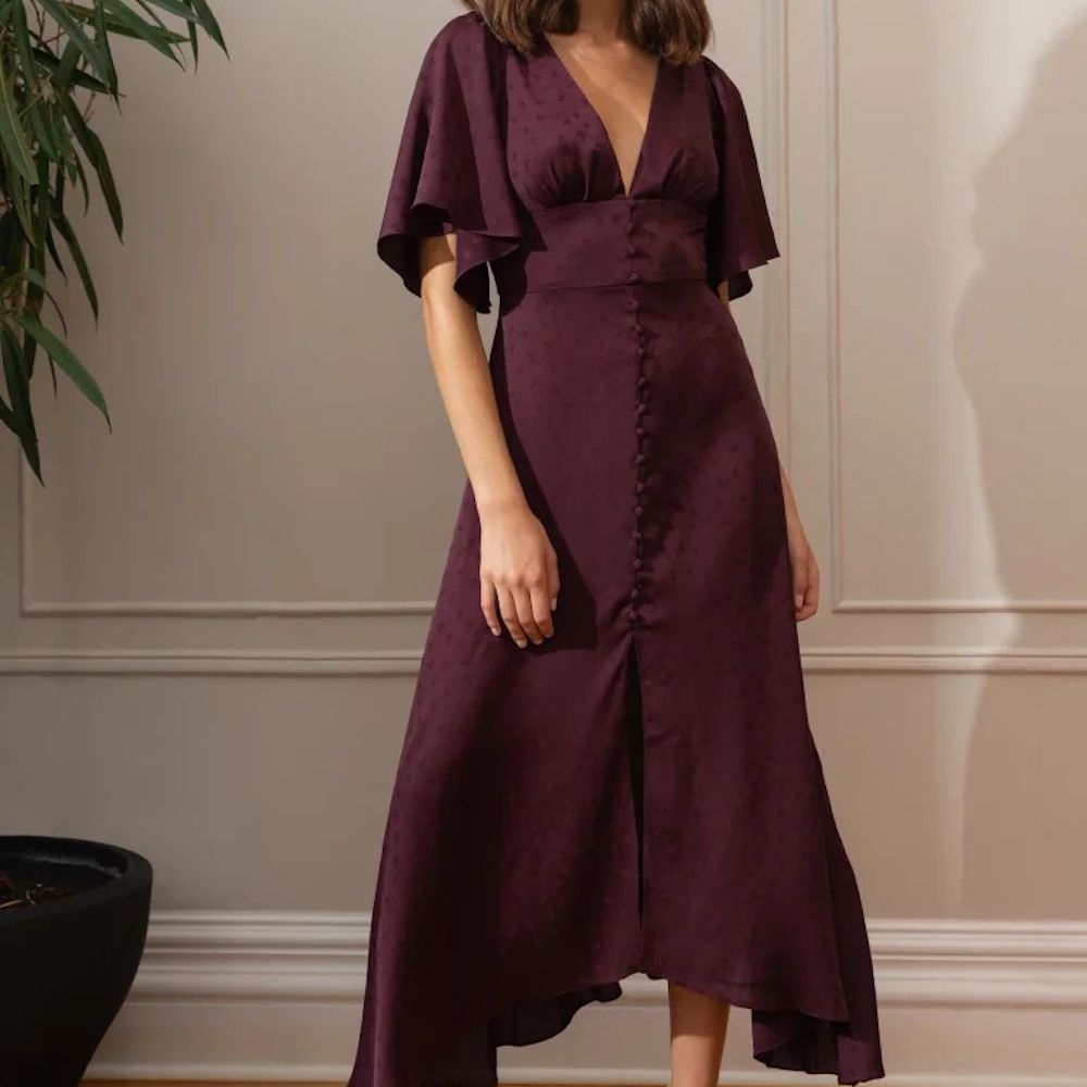 Jenny Yoo Luna V-Neck Flutter Sleeve Midi Dress