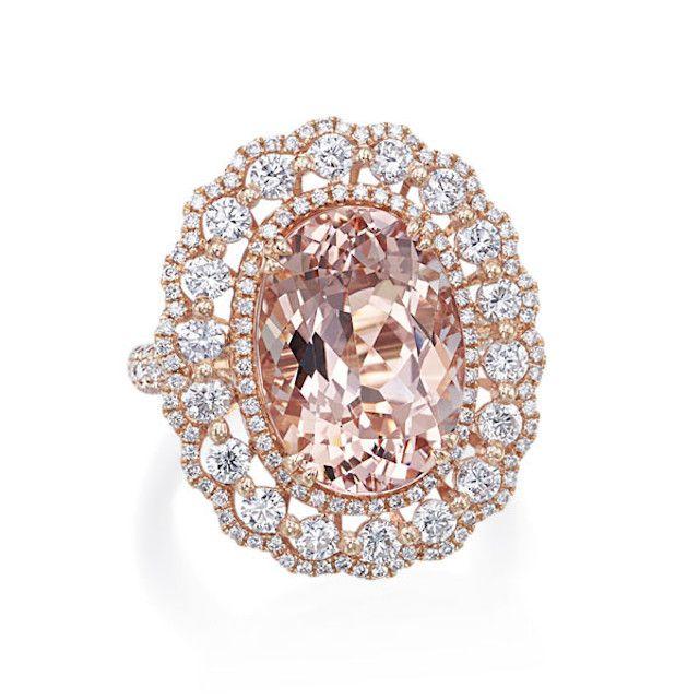 J.R. Dunn Rose Gold Morganite Scalloped Halo Ring