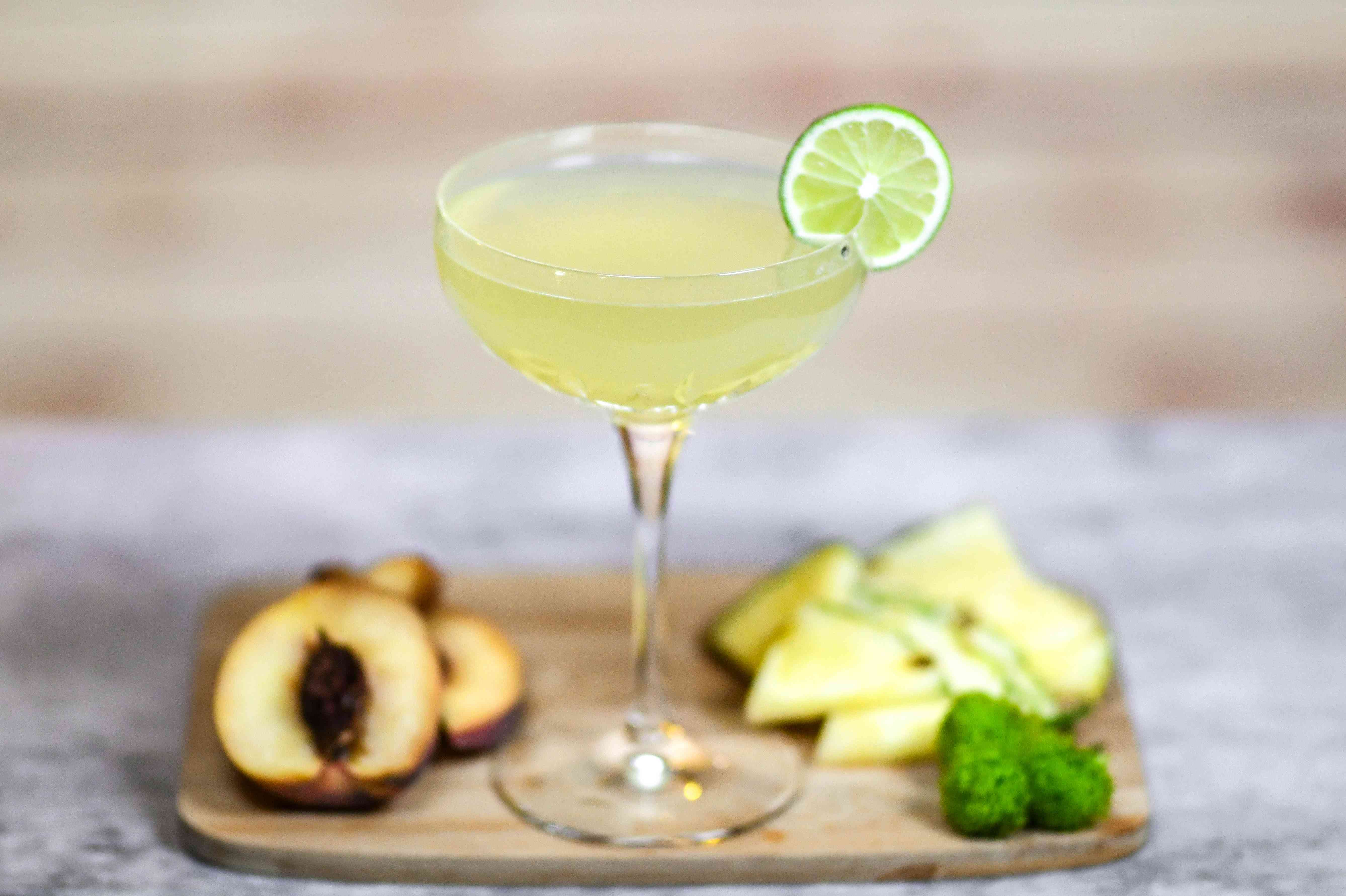 drink, cocktail, glass, alcohol, fruit, tequila, margarita, lime, peach, pineapple