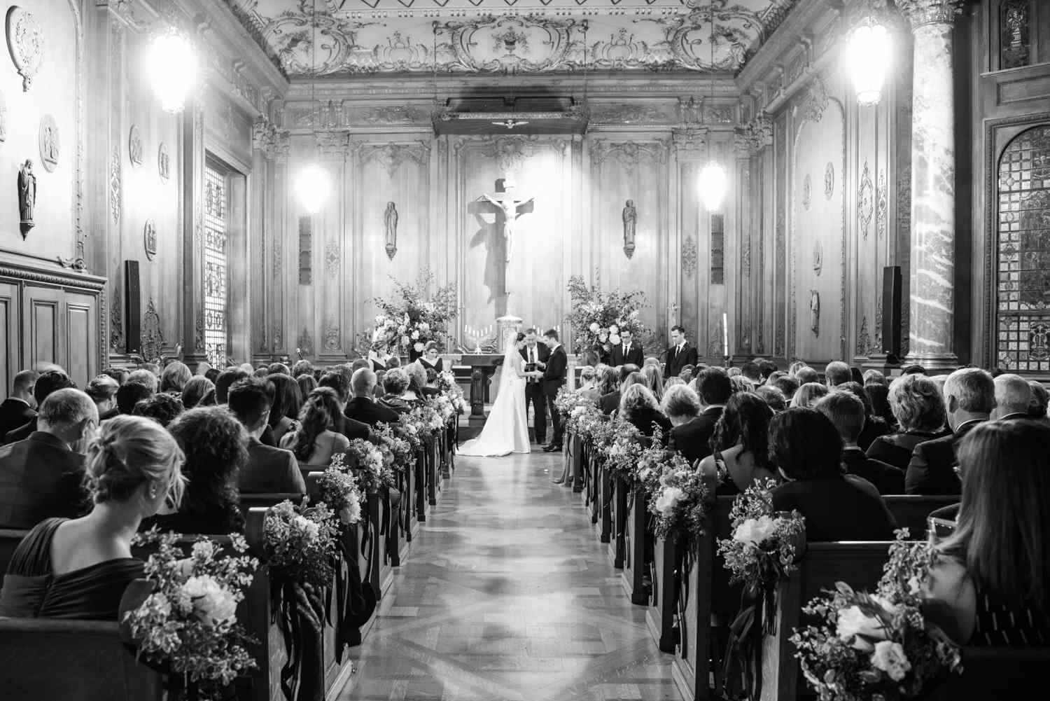 ceremony in Flood Mansion chapel