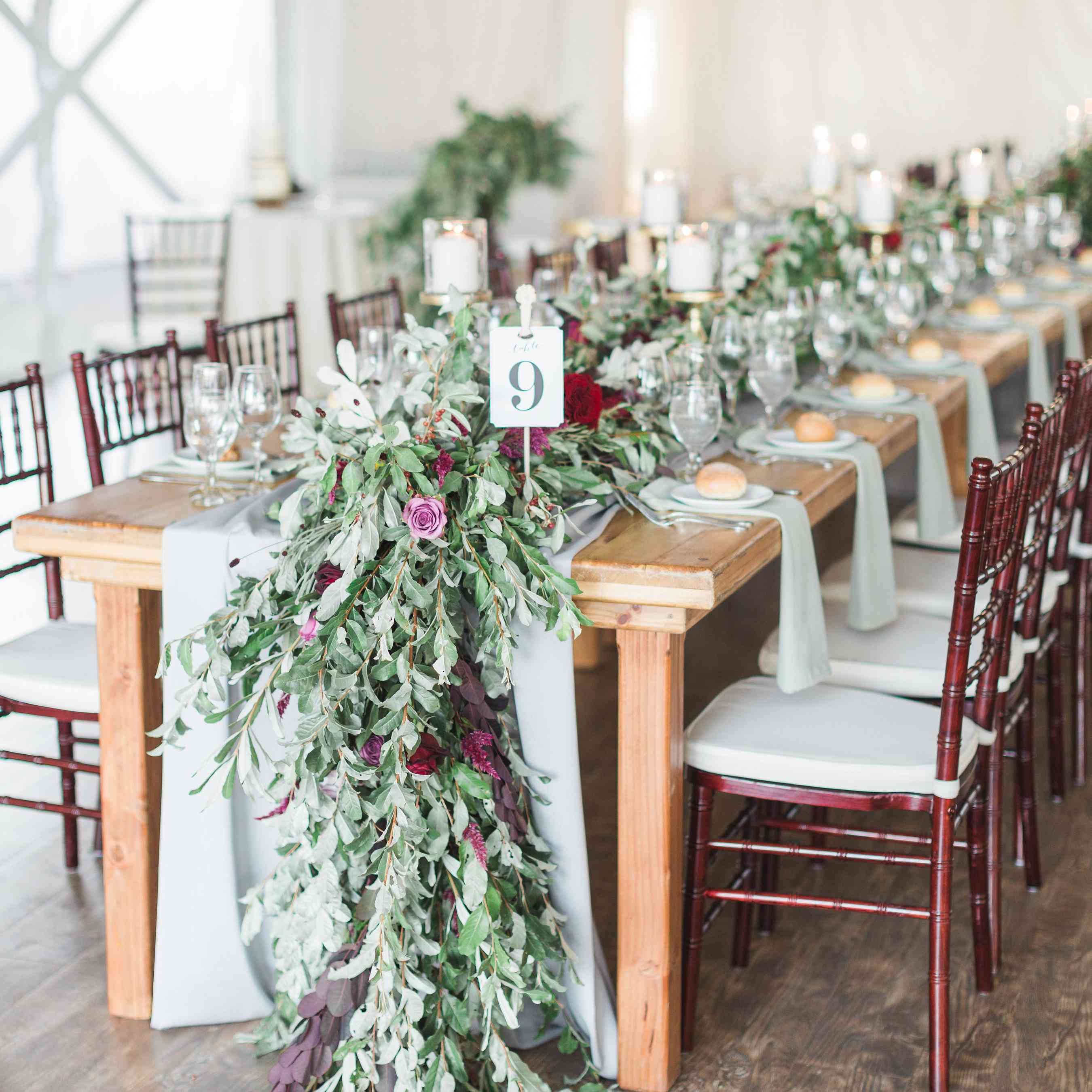 Greenery-Lined Reception Table