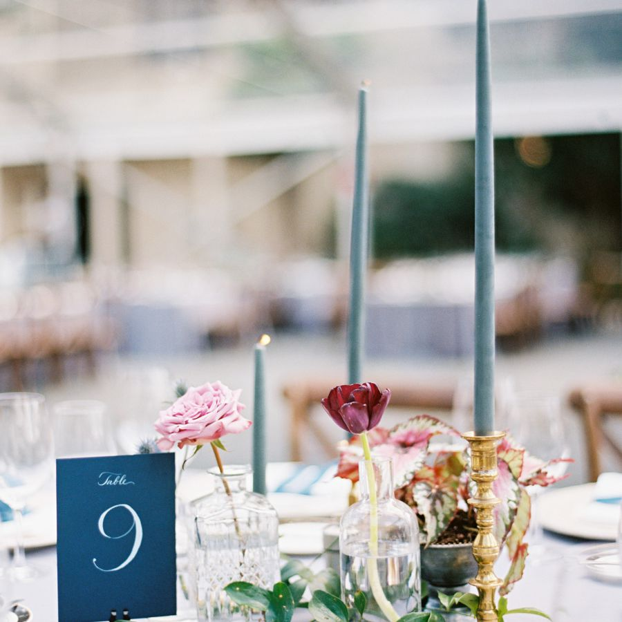 Blue candles on tablescape