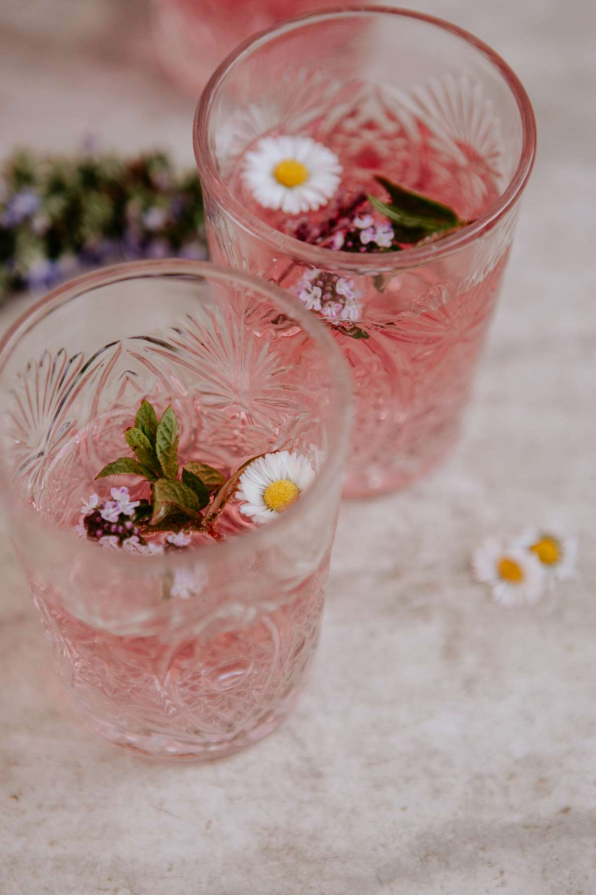 cocktails with flowers