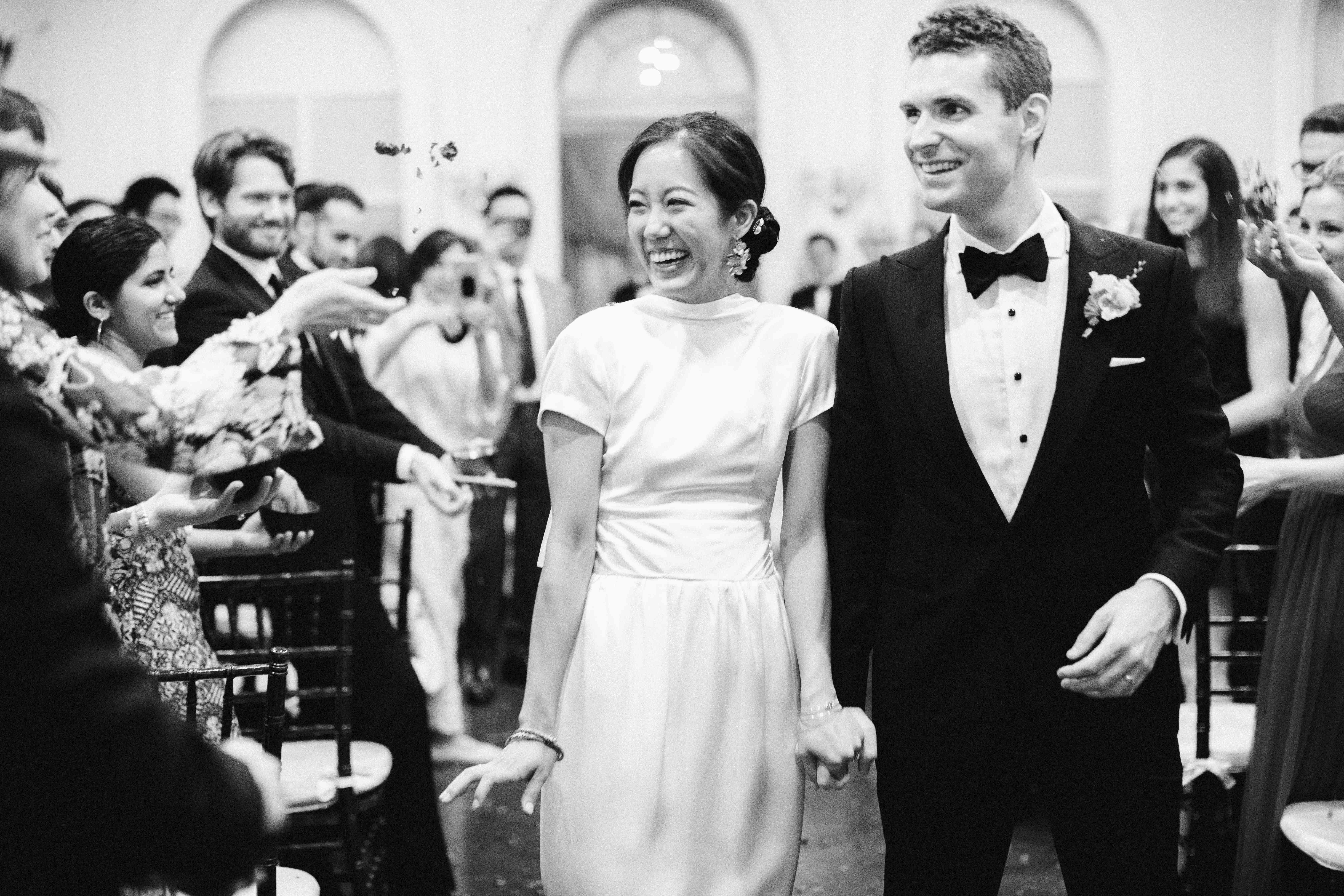 Couple recesses down the aisle